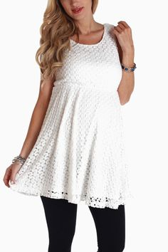 White Lace Maternity Tank Top