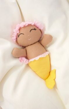 Reserved for Michelle Castro-13 inch wool blend felt mermaid tan with pink hair and yellow tail.
