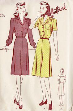 1940s Misses Shirtwaist Dress Vintage Sewing by MissBettysAttic, $30.00