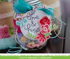 Lawn Fawn - Cross-Stitched Circle Stackables, Fab Flowers (available February 23 2017) tag by Latisha for Lawn Fawn