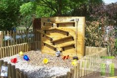 Water wall that goes into a gravel play area rather than sand