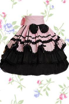 Rose et noire multicouches avec noeud lolita jupe