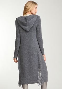 Long hooded sweaters with cool details
