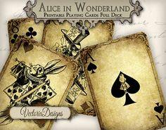 Grunge Alice in Wonderland playing cards full deck instant download printable digital collage sheet 273