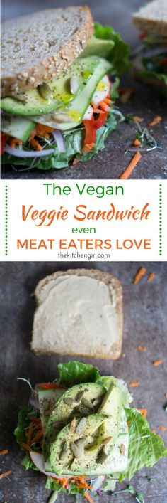 Off-the-hook vegan sando! Veggie-stacked, hummus-smeared, avocado-topped, and olive-oil drizzled. It's the Vegan Veggie Sandwich Even Meat Eaters Love. thekitchengirl.com