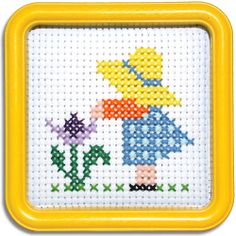 "SUN BONNET SUE--55SX  An old-fashioned little girl wearing her yellow straw hat.  This counted-cross stitch kit includes 6-count Aida cloth and a 5""x5"" Yellow Square Hoop-Frame - - - - EasyStreetCrafts.com"