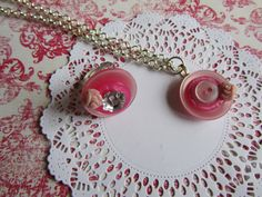 Adorable GIFT beautiful pink Button Necklace by Craftswithchrissie, £9.99