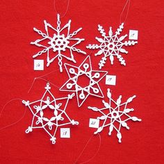 PDF patterns for 5 Crochet Snowflakes  set 4