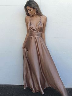 Silk-like Satin V-neck A-line Ankle-length with Ruffles Prom Dresses #UKM020104433