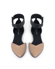 Am so excited to get these - nude + black ankle strap flats