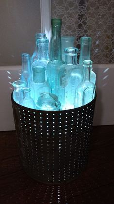 Pretty hanging deck lighting ideas exclusive on miral iva home decor Solar Chandelier, Bucket Light, Bottle Display, Deck Lighting, Lighting Ideas, Vintage Bottles, Antique Bottles, Bottle Lights, Light Project