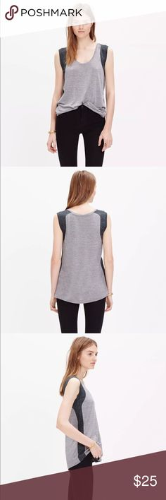 """NEW MADEWELL INSET TANK TOP R DETAILS: $42.00 Laid-back and undeniably cool, this swingy striped tank top has a scoopneck and pieced side panels with a flattering colorblock effect. Crafted of our signature Anthem fabric—the one with that extra-soft feel and perfect drape—this is one we can't help but hit replay on.   Drapey fit. Viscose. Hand wash. Import.  APPROXMIATE MEASUREMENTS   CHEST- 38""""/ WAIST- 36""""/ HIP- 40""""/ LENGTH- 26"""" Madewell Tops Tank Tops"""