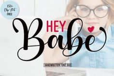 Hey Babe is a spectacular duo font (sans serif and script). Incredibly versatile, this font fits a wide pool of... Free Font Design, Design Logo, Graphic Design, Great Fonts, All Fonts, Sans Serif, Typography Fonts, Lettering, Calligraphy Fonts