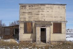 Vacant store in ghost town of Orion, Alberta, Canada