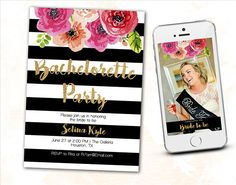 Black Stripe Gold Glitter Floral Kate Bachelorette Party Invite.