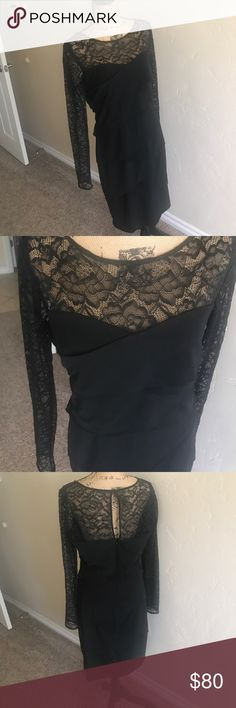 WHITE HOUSE BLACK MARKET // slimming black dress WHITE HOUSE BLACK MARKET // slimming black dress with lace sleeves// brand new, never worn, marked as NWT bc button bag is still attached, actual tag is missing- 1/2 of what they are on WHBM website- gorgeous flattering dress just ended up not needed for occasion I originally purchased it for // size 14 White House Black Market Dresses