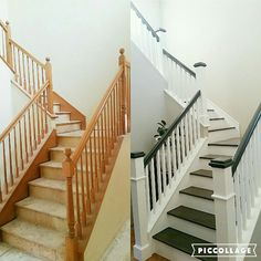 Swoonworthy Staircase Makeover Ideas Painted Staircases and Painted Runners Staircase makeover wood stairs white stairs design inspo interior design ideas entryway home decor home design ideas remodel interior Painted Staircases, Staircase Railings, Painted Stairs, Banisters, Staircase Design, Carpet Staircase, Hall Carpet, Bannister Ideas Painted, Stairways