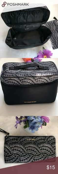 "VICTORIA'S SECRET COSMETICS BAG VICTORIA'S SECRET COSMETICS, BRAS AND PANTIES BAG Bundle. Black and white. In excellent conditions.  Case 7""H X 5.5"" W  Cosmetics bag 5"" H X 9.5"" L Victoria's Secret Bags Cosmetic Bags & Cases"