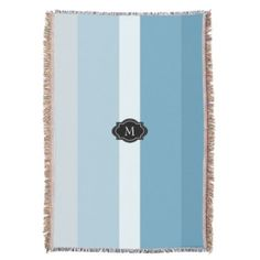 #monogrammed - #Modern shades gray blue stripes monogram family throw