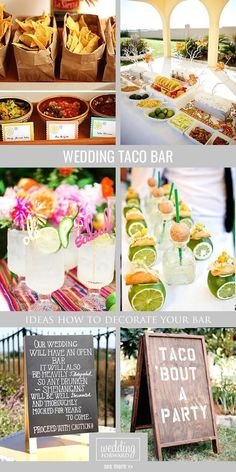 Wedding Reception Food - Look at the our ideas how to make and decorate wedding taco bar to inject uniqueness and fun your wedding. Taco bar includes colorful and bright decoration. Taco Bar Wedding, Wedding Reception Food, Wedding Catering, Unique Wedding Food, Wedding Food Bars, Trendy Wedding, Fall Wedding, Wedding Dinner, Wedding Chairs