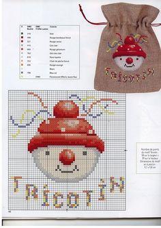 0 point de croix grille et couleurs de fils noel, tête de bonhomme de neige