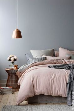 Wonderful Tips: House Interior Painting White living room paintings with wood trim.Bedroom Paintings Geometric interior painting tips thoughts.Interior Painting Tips People. Dream Bedroom, Home Bedroom, Master Bedrooms, Grey Bedrooms, Grey Bedroom Walls, Modern Grey Bedroom, Scandi Bedroom, Blush Grey Copper Bedroom, Stylish Bedroom