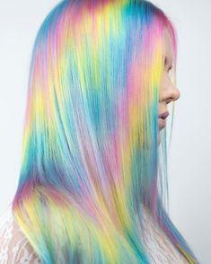 16 Amazing Pastel Rainbow Hair Color Trends for 2018 Pastel Rainbow Hair, Pastel Hair, Ombre Hair, Colorful Hair, Rainbow Hair Colors, Bright Hair, Rainbow Art, Pelo Multicolor, Unicorn Hair Color