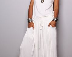 Off White Maxi Dress -  Sleeveless dress : Autumn Thrills Collection No.9   (New Arrival)
