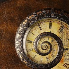 A spiral clock represents the god of infinitely expanding time, Kairos or Caerus.  The other god of time is Khronos or Chronos (the god of unaging time) governing limits and boundaries. The two coexist, templates placed over each other.  Caerus time is qualitative, and Chronos time is chronologically quantitative.