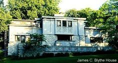 Blythe House in Mason City, Iowa designed by Walter Burley Griffin in 1913