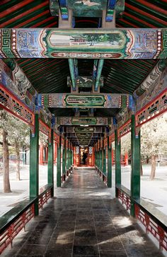 The Summer Palace, Beijing, China. The Long Corridor was first built in 1750, when the Qianlong Emperor commissioned work to convert the area into an imperial garden. The corridor was constructed so that the emperor's mother could enjoy a walk through the gardens protected from the elements.