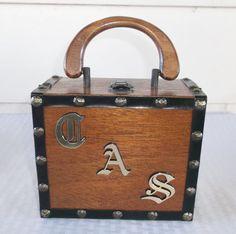 1960s Vintage Wooden Box Purse with Initials by MyVintageHatShop