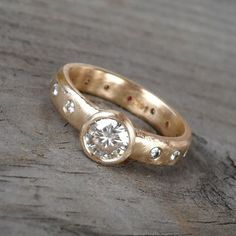 Engagement Ring  Moissanite Ruby and Recycled by mcfarlanddesigns, $1698.00