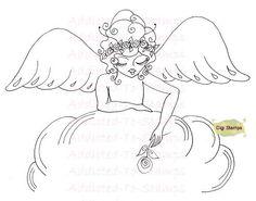 Digital Digi Stamps Angel Flowers By Sherri by Digidoodlestampart, $3.99