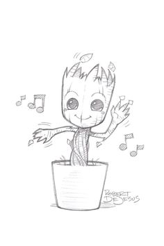 Just a casual picture of Baby Groot - # casual . Just a casual picture of Baby Groot - # casual You possibly can work with the pencil drawing. Marvel Drawings, Music Drawings, Cool Art Drawings, Art Drawings Sketches, Drawing Designs, Drawing Ideas, Unique Drawings, Beautiful Drawings, Tattoo Drawings