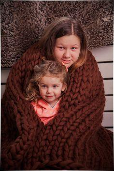 SALE  Wool Knit blanket Chocolate Chunky by NataHomeandFashion