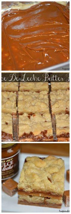 Dulce De Leche butter Bars Sweet Desserts, Just Desserts, Delicious Desserts, Yummy Food, Pan Dulce, Filet Mignon Chorizo, Cookie Recipes, Dessert Recipes, Brownies