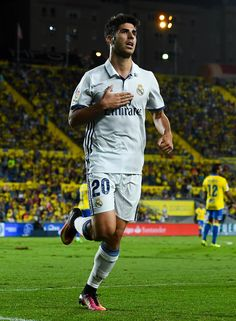 Marco Asensio of Real Madrid CF celebrates after scoring his team's first goal during the La Liga match between UD Las Palmas and Real Madrid CF on September 24, 2016 in Las Palmas, Spain.