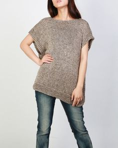 Hand knit Tunic sweater eco cotton woman sweater vest mocha