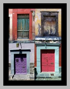 Doors of Mexico collection purple red green wood by MyMexicanArt, $95.00
