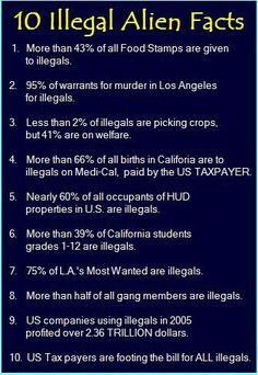 10 ILLEGAL ALIEN FACTS.  And Obama is inviting them in by the tens of thousands...