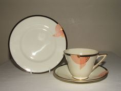 ROYAL DOULTON ART DECO RED & GOLD TANGO TEA TRIO RARE & TRULY STUNNING