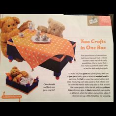 From family fun magazine, Feb A table/bed made from a clementine box Family Fun Magazine, Activities For Kids, Crafts For Kids, Trash To Treasure, Craft Box, Wooden Crates, How To Make Bed, A Table, Craft Projects