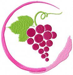 Wine Grape symbol  free machine embroidery