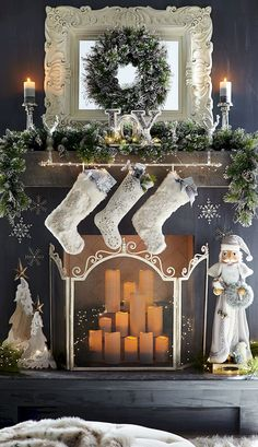 Adorable 75 Beautiful Christmas Mantel Decoration Ideas https://roomodeling.com/75-beautiful-christmas-mantel-decoration-ideas
