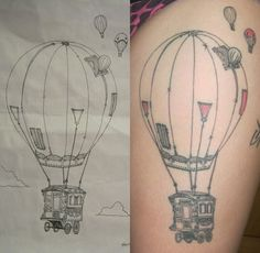 to cover one on arm -hot air balloon tattoo