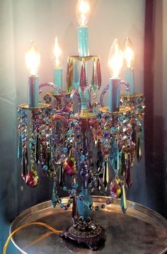Jeweled Bohemian Candelabra, Gypsy Girandole, Antique Bohemian Candelabra, Peacock Table Lamp, Home Decor, Vintage Lighting by sheriscrystals on Etsy