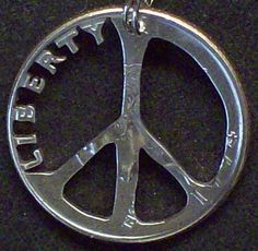 Peace Hand Cut Coin Jewelry by bongobeads on Etsy, $14.95