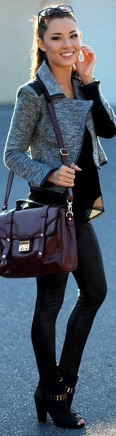 Street style black outfit with grey coat