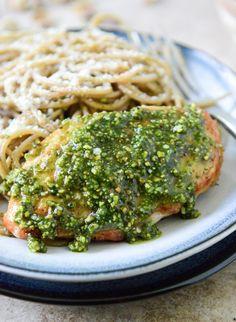 Pistachio Pesto Chicken with Whole Wheat Spaghetti.   howsweeteats.com